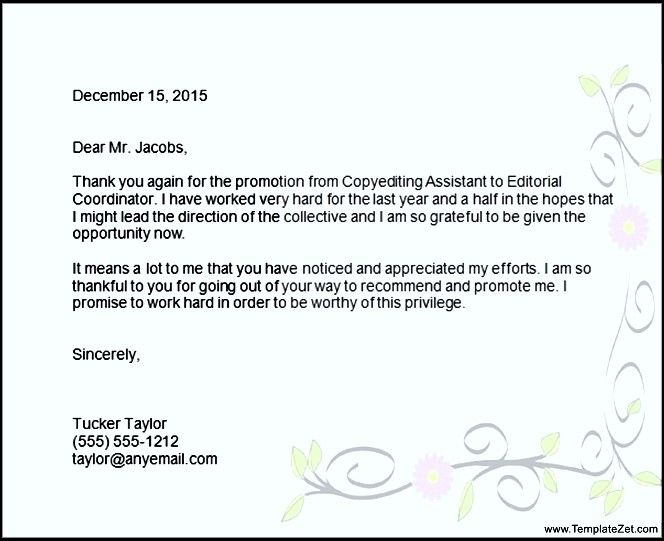 thank you for promotion letter format templatezet templates free - sample promotion letter