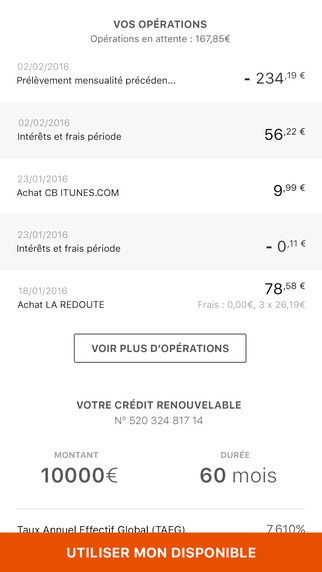 Sofinco On The App Store Credit Renouvelable Operation Achat