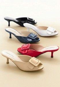 dbd6883f90b Peep-Toe Kitten Heel Mule Mule Sandals