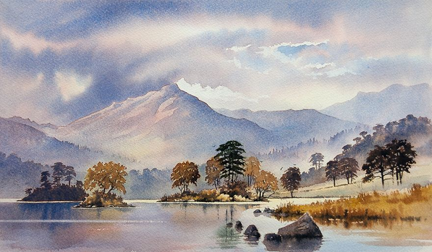 Landscape Watercolour Paintings Of The Lake District By Chris Hull With Images Watercolor Landscape Paintings Watercolor Scenery Landscape Drawings