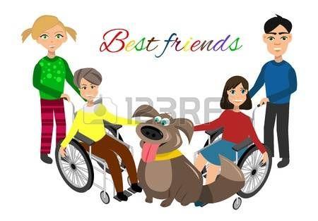 discapacitados felices: Necesidades especiales de los niños con los amigos, los amigos y los niños discapacitados. Ilustración del vector. niños divertidos con el perro