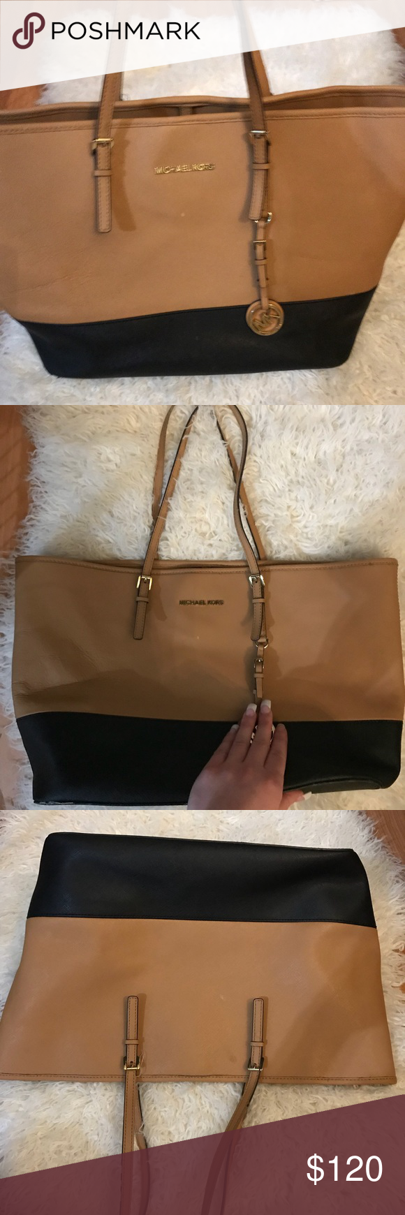 8c188be7c9f8 Authentic Michael Kors black & tan purse This purse has been loved & used  for years