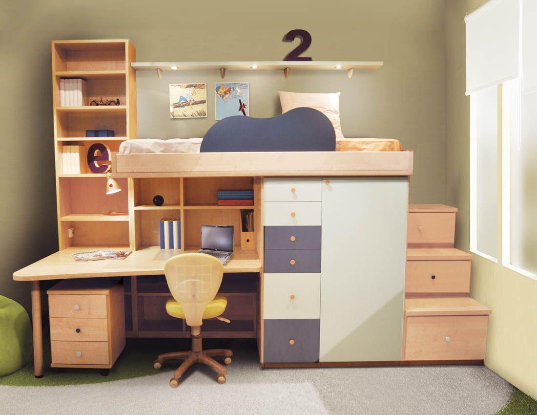 R45 juvenil compacto biblioteca y cama alta con armario - Armario bajo cama ...