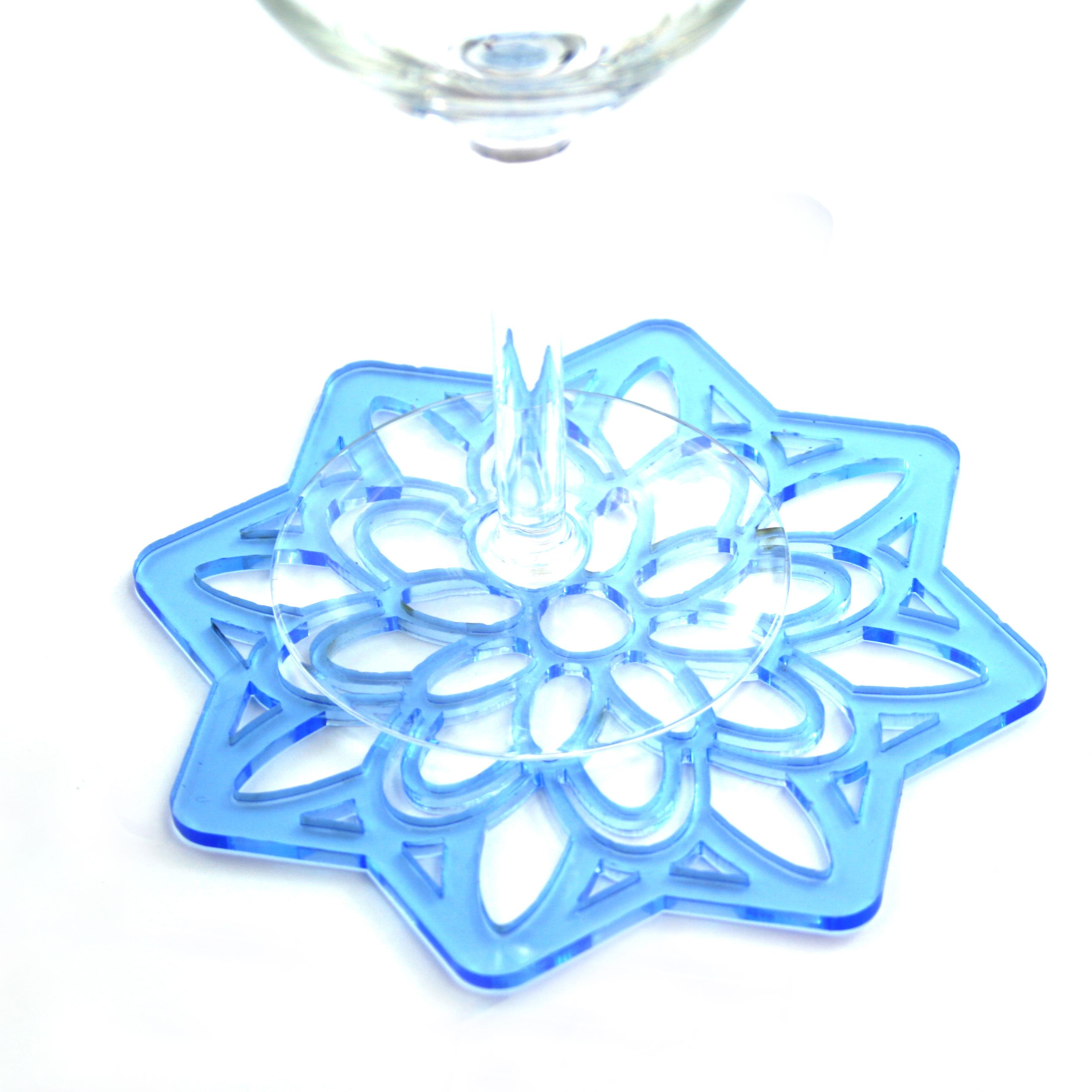 Laser cut acrylic wine bottle coaster or heat mat cut in transparent ...