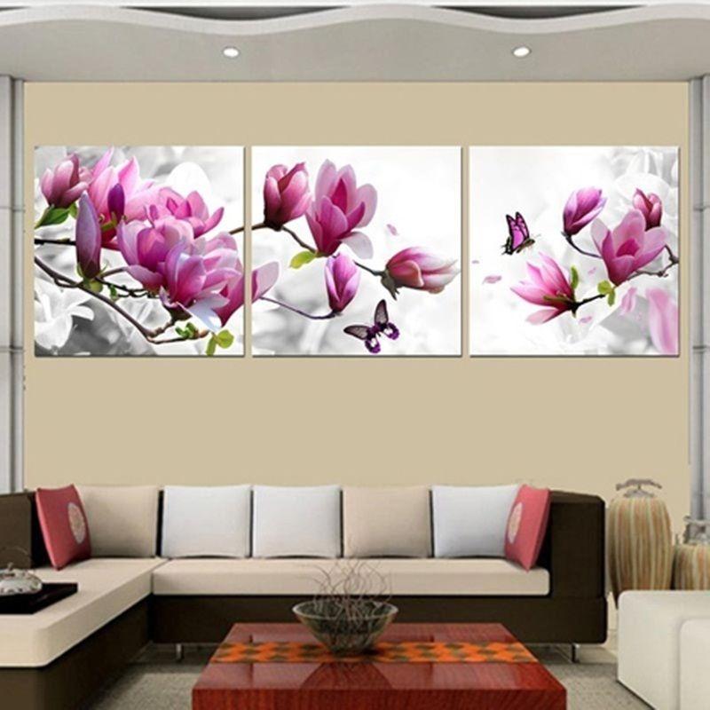 Lirio de flores de color Rosa Floral Picture SINGLE LONA pared arte impresión