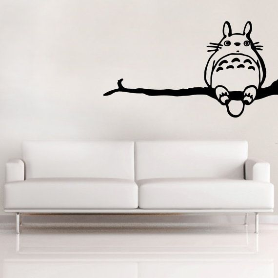 Totoro large VINYL DECAL - Wall stickers - anime inspired - 105cm long - Studio Ghibli Totoro - Totoro on branch vinyl decal