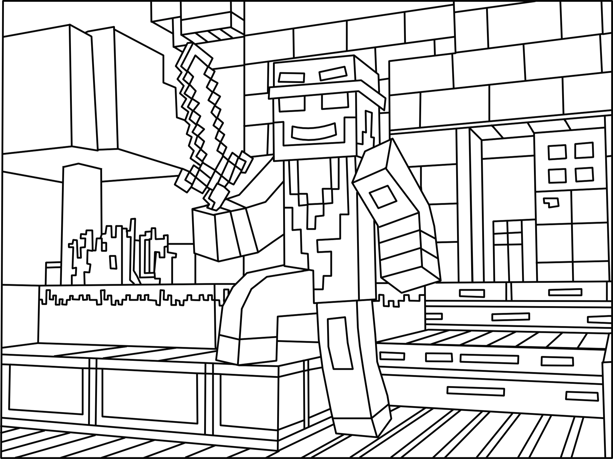 minecraft coloring pages herobrine - minecraft ninja coloring page minecraft coloring ebook 2