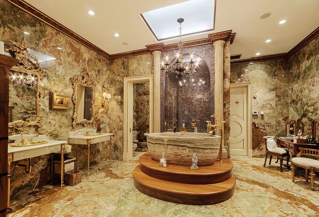 Eclectic Master Bathroom with Green Onyx Bathtub BT-024A-GO, Columns, Wall