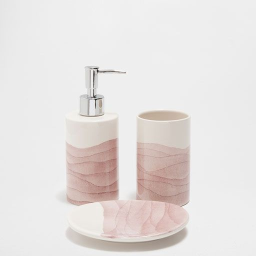 Pink Ombre Ceramic Bathroom Set Pink Bathroom Accessories Bathroom Accessories Pink Bathroom