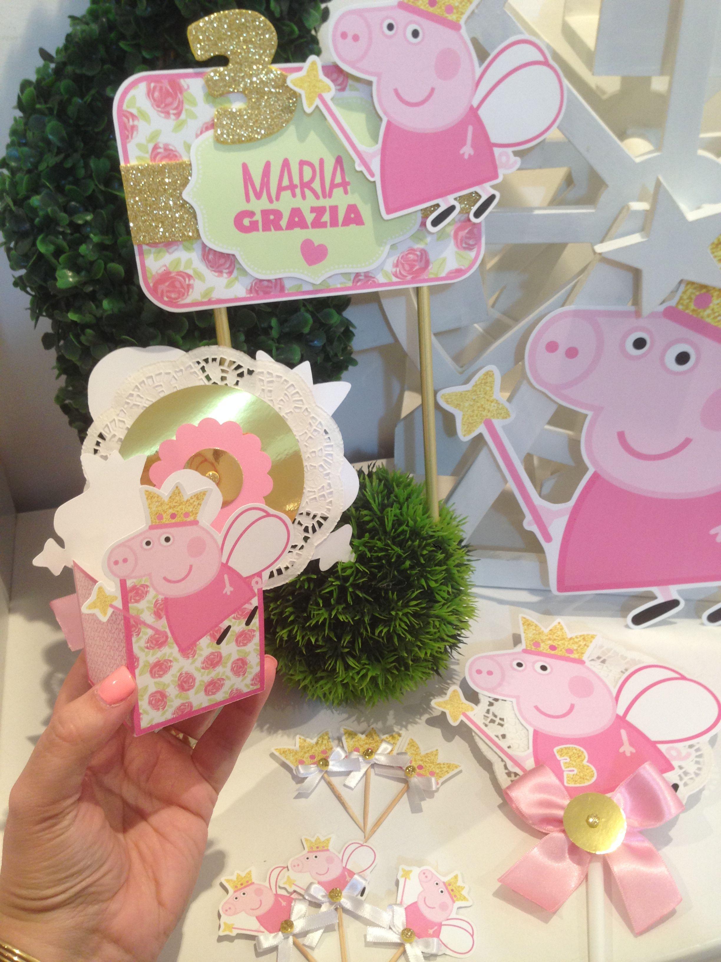 Detalles Peppa Hada Con Dorado Fiesta De Cumpleaños De Peppa Pig Decoración De Fiestas Infantiles Cumpleaños Minnie