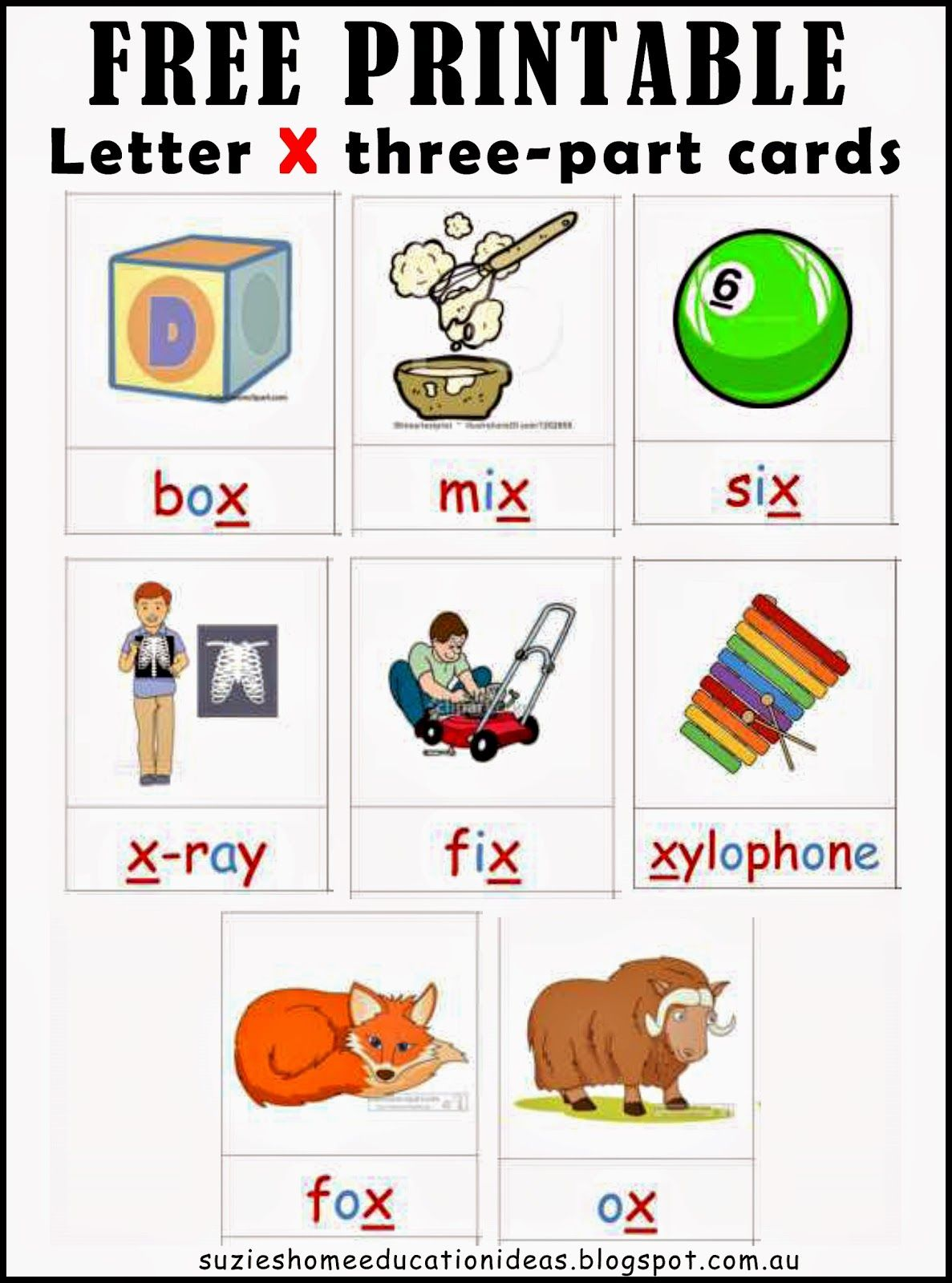 Letter X Printable Cards and Activity Ideas