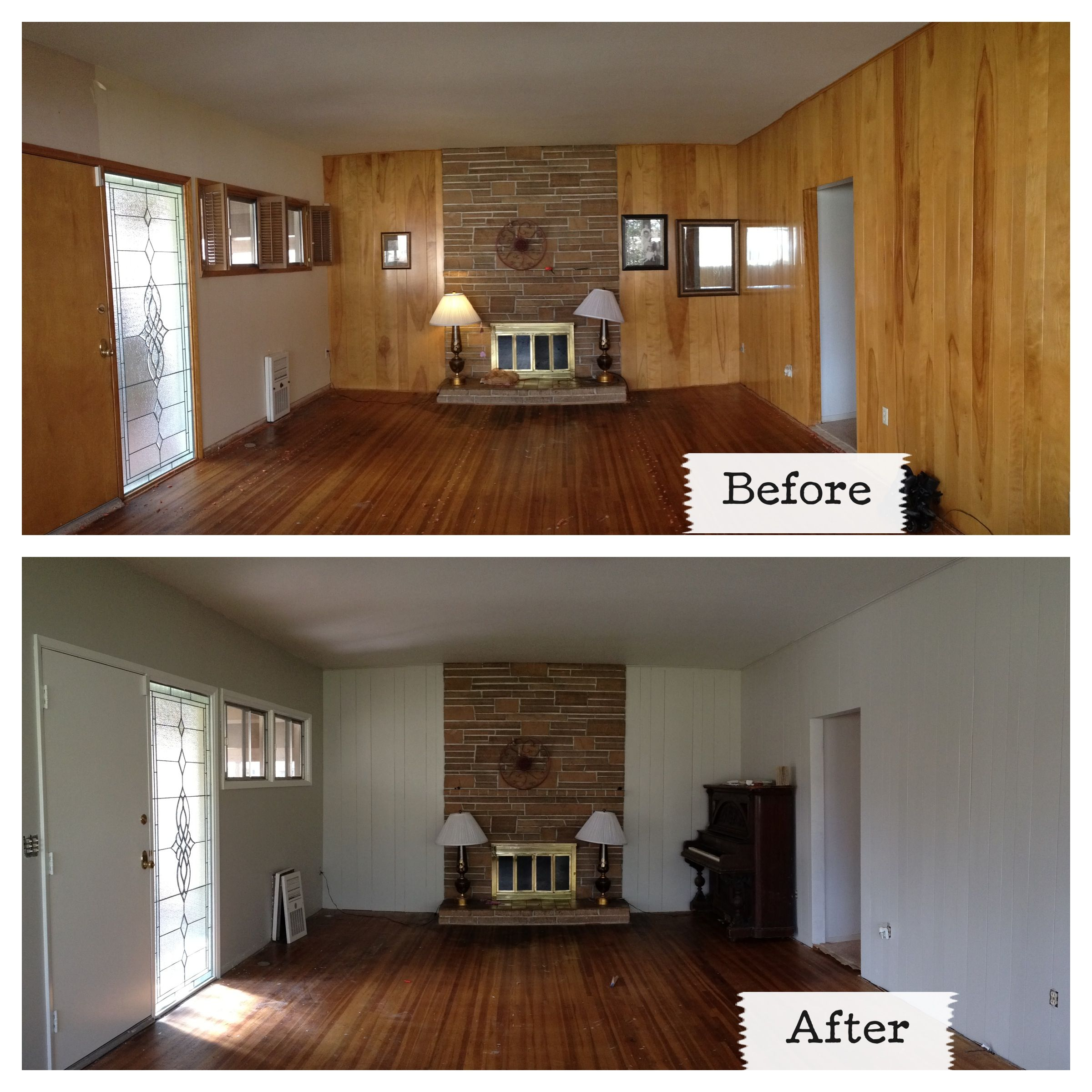 Painting Wood Trim White Before And After: Walls Painted In Revere Pewter, Trim In Swiss Coffee, Both