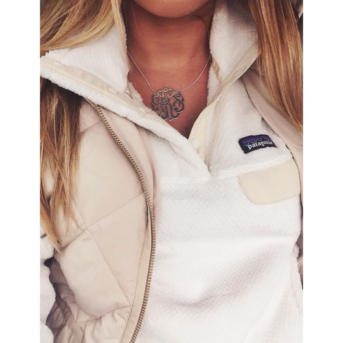 Patagonia Jacket And Monogram Necklace Fashion Preppy