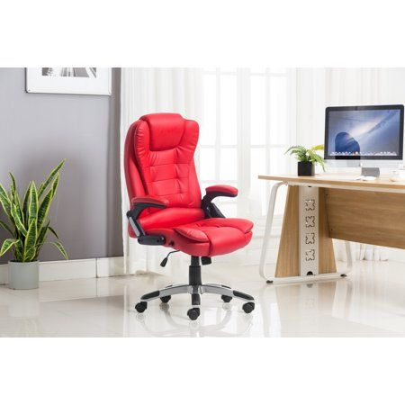 Heated Vibrating Massage Chair Height Back Adjustable Office Chair