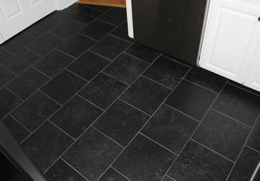 22 Kitchen Flooring Options And Ideas Pros Cons Black Kitchen Floor Tiles Black Tiles Kitchen Black Floor Tiles