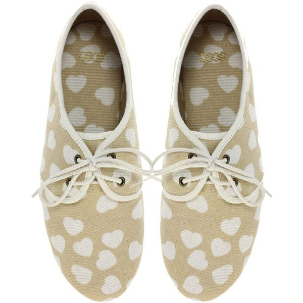 Asos Magpie Lace Up Flat Shoes With Heart Print ($15) ❤ liked on Polyvore featuring shoes, flats, sneakers, zapatos, fleece-lined shoes, print flats, flat sole shoes, lace up shoes and laced flats