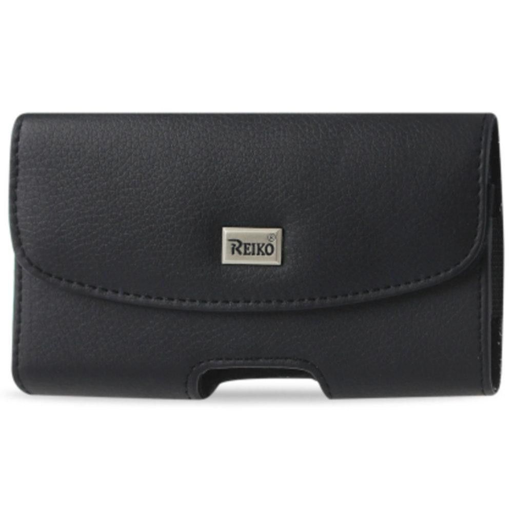 Reiko Horizontal Pouch Samsung Note 3- N7100 Slim-Black With Logo And Megnetic Inner Size: 6.1X3.27X0.48 Inch