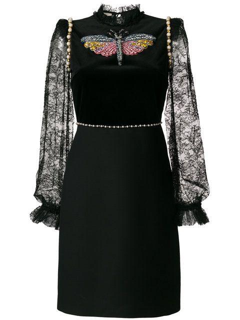 4313fb59136 Shop Gucci embellished lace-trimmed dress.