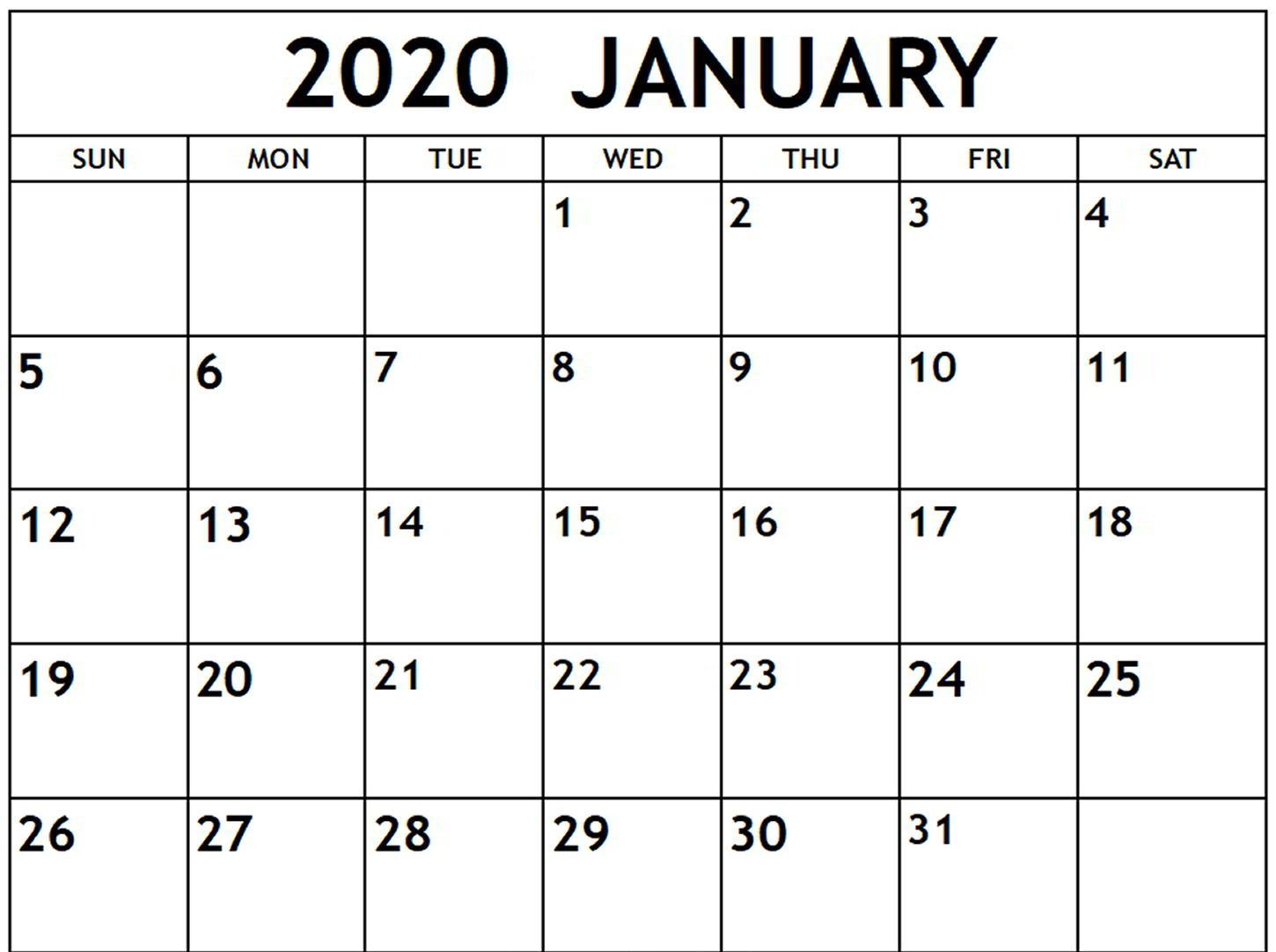 Free January Calendar 2020 Printable Template Blank In Pdf Word