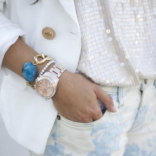 white jacket, sequins, floral pants