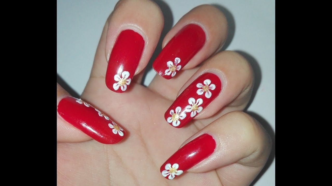 Easy Red And White Diy Flower Nail Art Tutorial No Tools Nail Art Desig Red And White Nails White Nail Designs Colorful Nail Art