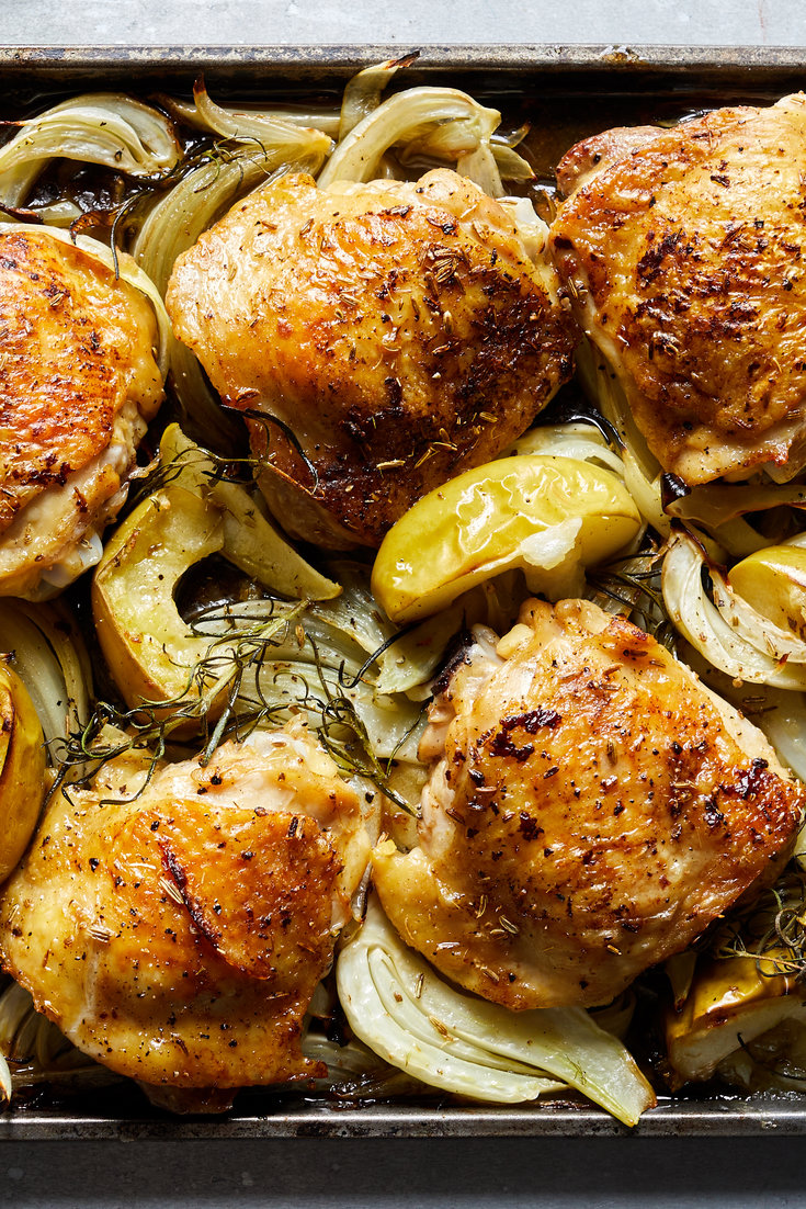 Sheet Pan Chicken With Apple Fennel And Onion Recipe Recipe Nyt Cooking Roasted Fennel Braised Chicken Thighs