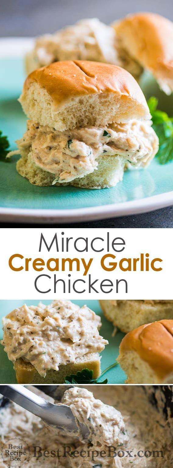 Slow-Cooker Miracle Garlic Chicken #creamygarlicchicken