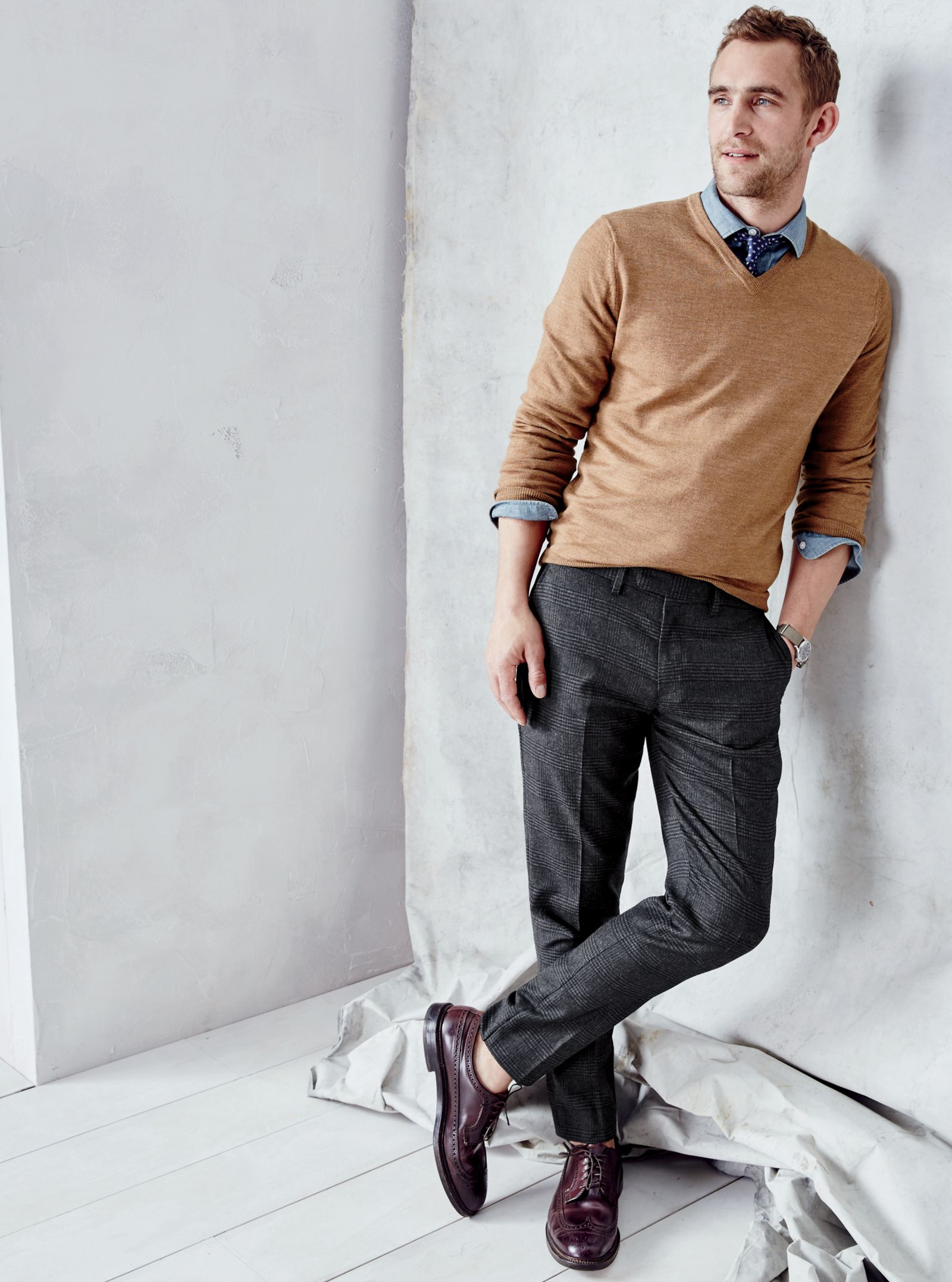 J.Crew men's V-neck sweater, slim glen plaid Bowery pant and Alden