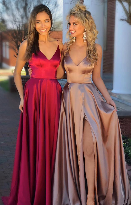 V-neck Long Prom Dresses