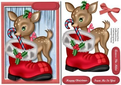 Little Deer Hiding the candy cane in Santa s Boot  on Craftsuprint designed by Ceredwyn Macrae - A lovely card to make and give to anyone at Christmas Little Deer Hiding the Candy Cane in Santa's Boot, a lovely card has three greeting tags and a blank one for you to choose the sentiment,  - Now available for download!