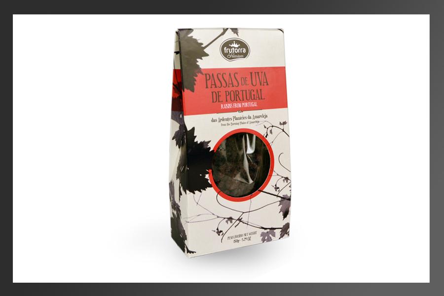 Embalagem das Passas de Uva de Portugal da nossa cliente Frutorra.