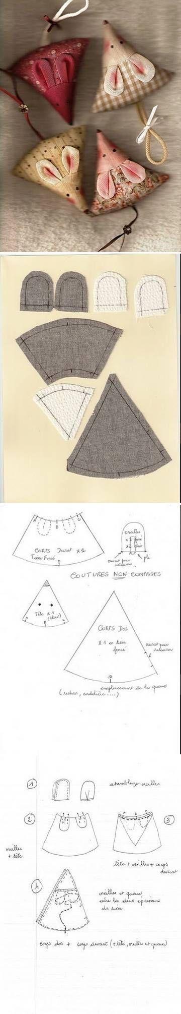 DIY Cute Fabric Mice | Ideen mit Stoffresten | Pinterest | Mäuse ...