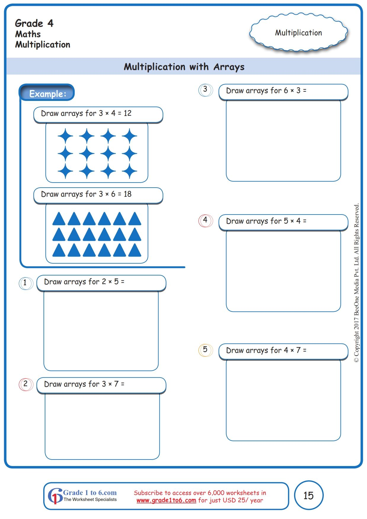 Worksheet Grade 4 Math Multiplication With Arrays In 2020 Free Math Worksheets Math Worksheets Free Math