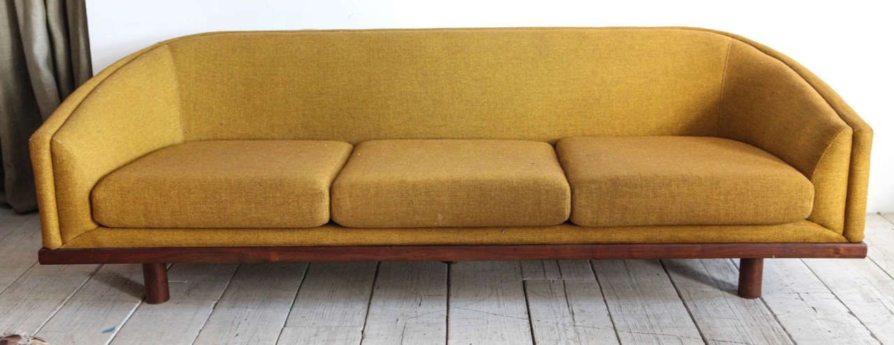 Mid Century Curved Back Sofa In Mustard Yellow Fabric From A Unique Collection Of Antique And Modern Sofas At