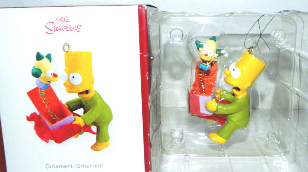 American Greetings Heirloom Xmas Ornament Bart Simpson Crusty Clown Jack in Box #AmericanGreetings