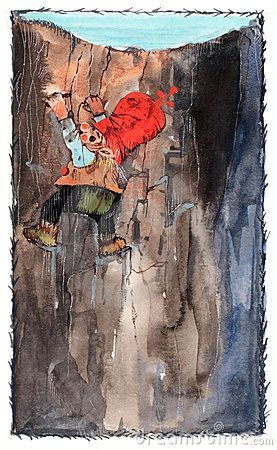 Peer nisse climbing up from a cave