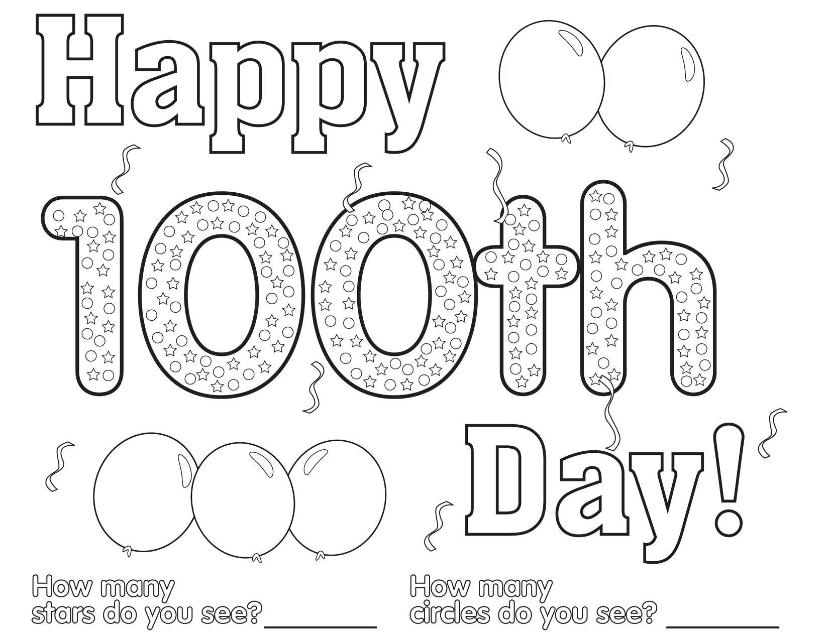 100th Day Of School Worksheets 100th Day School Coloring