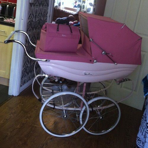 Baby girl nursery ideas!!. This is a stunningly pretty pink pram!!. Silver Cross Coach Built pram called Balmoral. I am getting this even if I have a baby boy it's just too pretty not to!!.