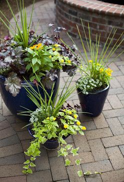 Patio Flower Arrangements Design Ideas Pictures Remodel And Decor Flower Pots Outdoor Flower Pots Modern Landscaping