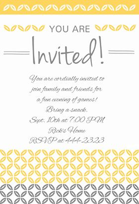Yellow Ornaments Printable Party Invitation Template Free Greetings Island Party Invite Template Free Printable Party Invitations Party Invitations Printable