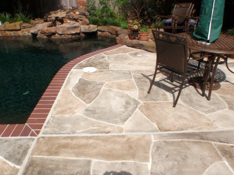 Allied Outdoor Solutions Concrete Overlay Houston Like They Left The Brick Coping Patio Patio Inspiration Outdoor Solutions