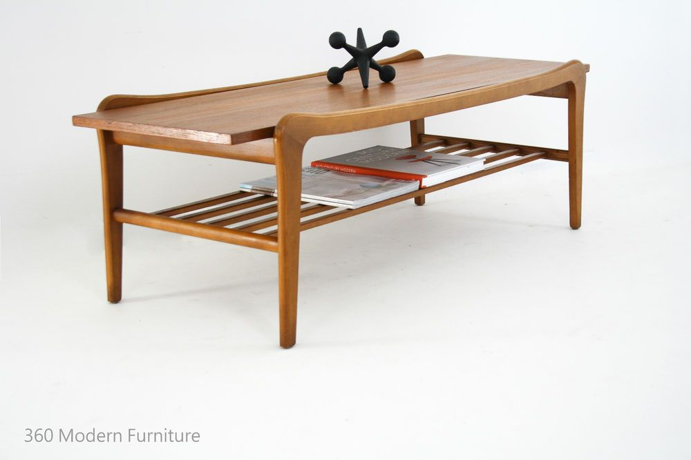 Stunning Mid Century 'Floating Top' Teak Coffee Table with Magazine Rack, Rectangle, Parker Eames Scandi Era. D E S C R I P T I O N :Stunning Original Mid Century Teak coffee table in great original condition. | eBay!