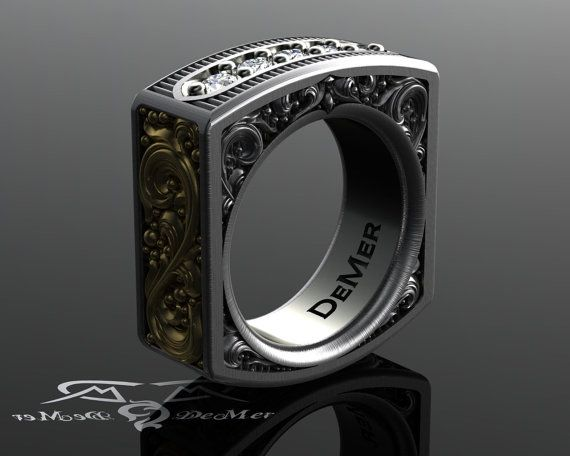 Steampunk Square Mens Diamond Ring Heavily Engraved Two Tone Solid Gold And Sterling Silver Pinstripe Scrollwork Western Victorian By
