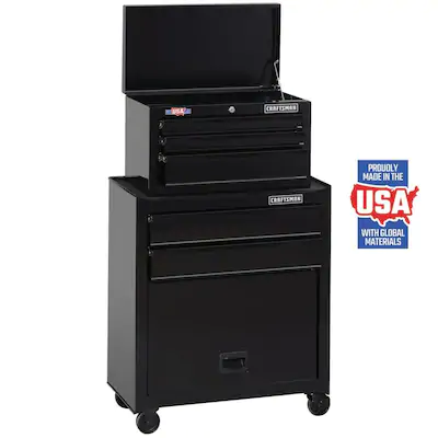 Craftsman 1000 Series 26 In W X 44 In H 5 Drawer Ball Bearing Steel Tool Chest Combo Black At Lowes Com Home Storage Solutions Tool Box Storage Work Tools