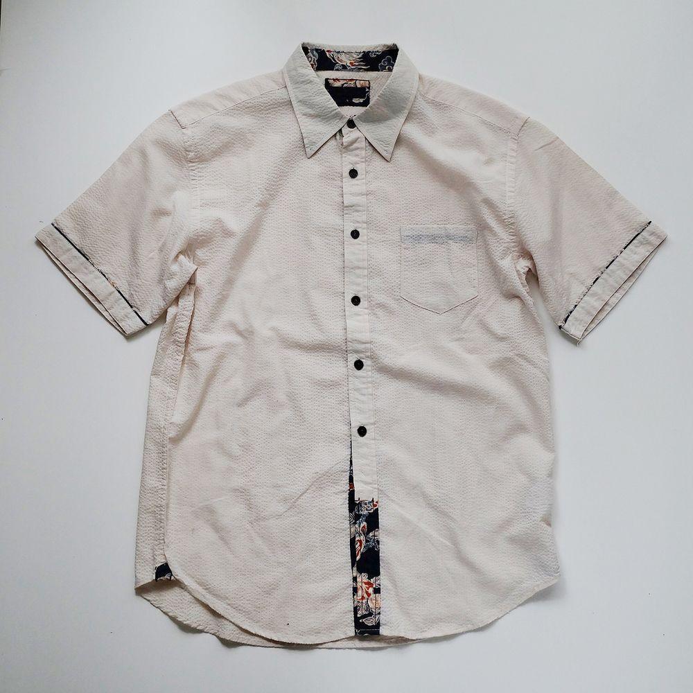 Vintage Japanese White Cream Wagara Polo Shirt - Japan Lover Me Store