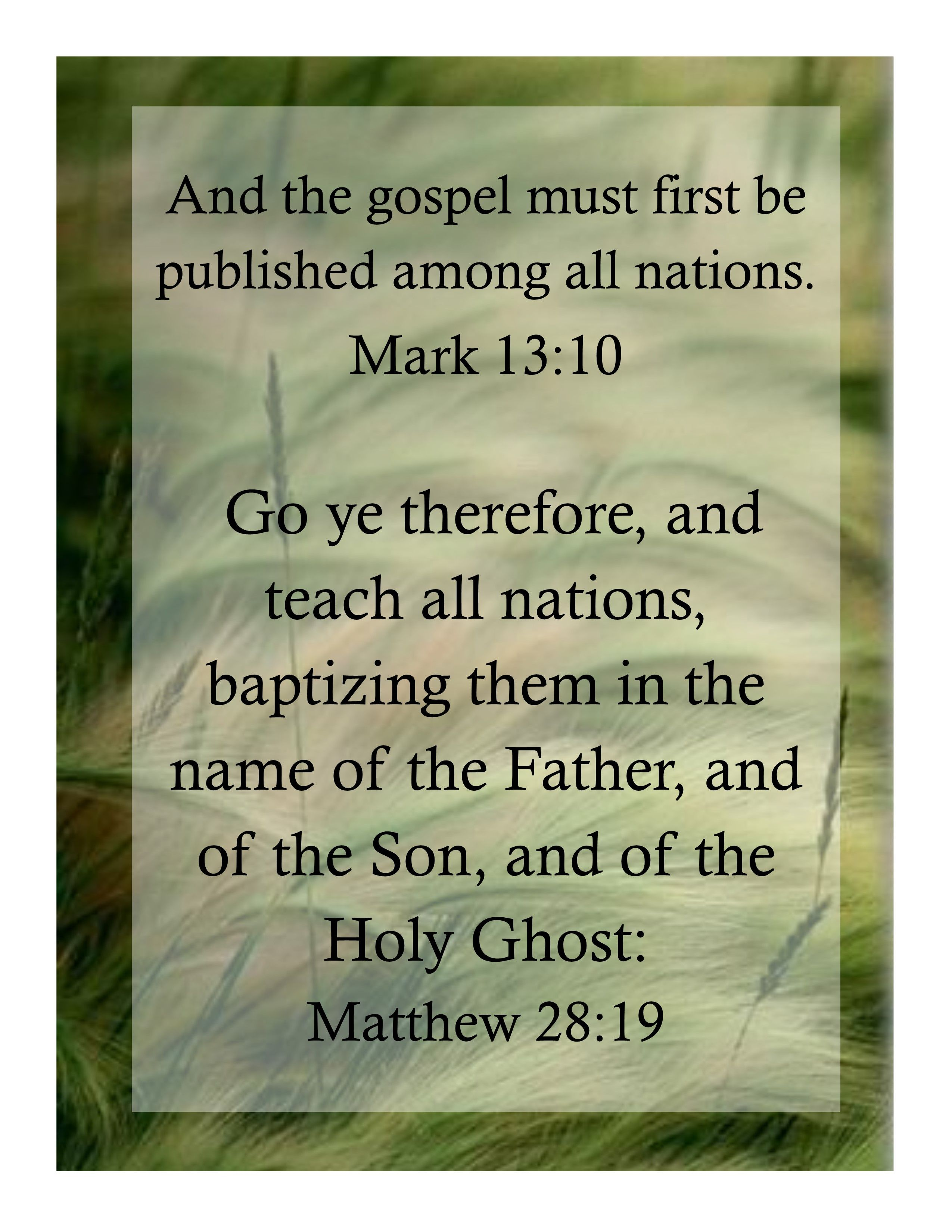 and the gospel must first be published among all nations mark 13 10