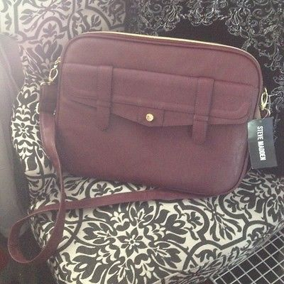 8ea298f5e0 NWT Steve Madden Laptop Bag Briefcase Wine Faux Leather Burgundy Maroon Red  Work fashion IPad case MacBook Case laptop case protection cross body  beautiful ...