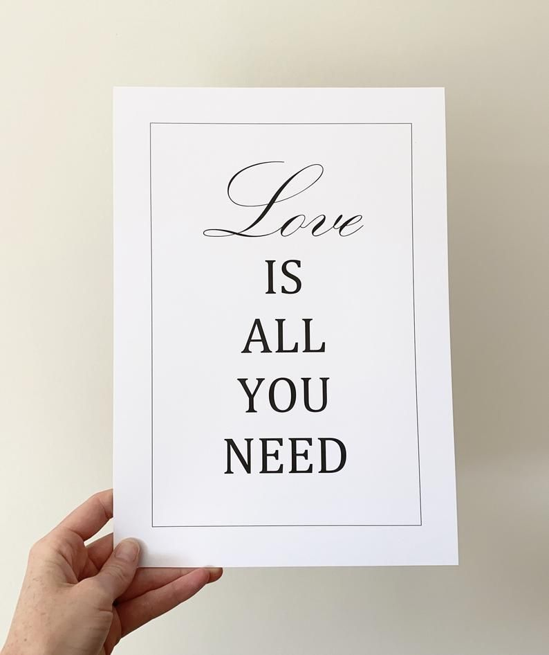 Love is All You Need Print Valentines Gift for Her Wall Art   Etsy