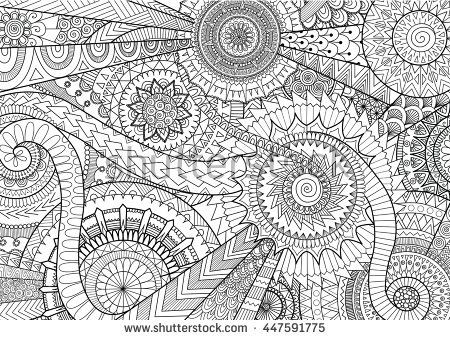 Complex mandala movement design for adult coloring book ...
