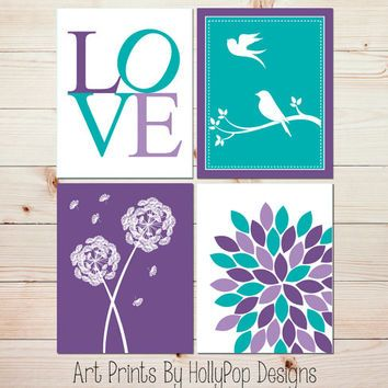 Purple Turquoise Wall Decor Modern Nursery Decor Set of 4 Art Pr